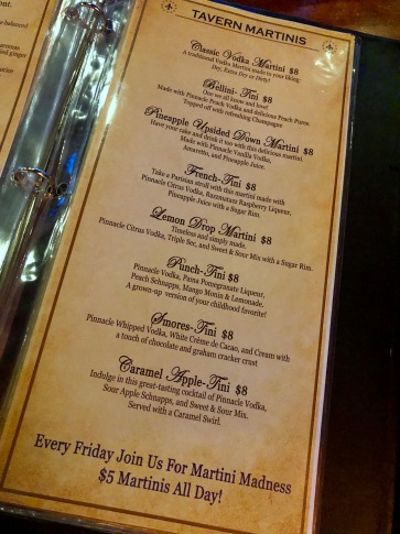 Park Lane Martini Menu Happy Hour Hampton Virginia